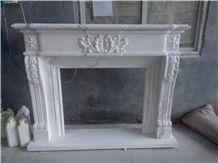 Greece Volakas White Marble Fireplace,Greece White Marble Fireplace