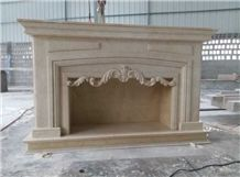Modern Style Fireplace New Cream Marfil Marble Fireplace