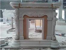 Platinum Century Beige Marble Stone Fireplace Design Ideas