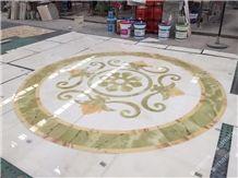 White Iran Onyx Medallions Pattern,Onyx Wall Tiles, Onyx Stone Flooring