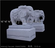Elephant Sculpture, White Granite Statues