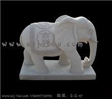 Elephants Sculpture, White Granite Statue