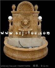 Outdoor Wall Mounted Fountain, Beige Marble Wall Mounted Fountains