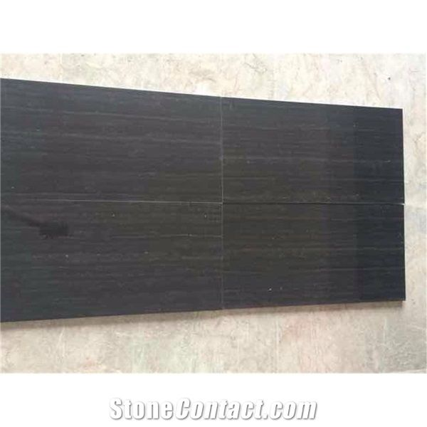 Black Wood Grain Wooden Marble Tiles