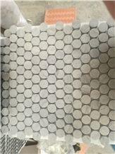 Marble Mosaic Tiles Carrara White Penny Round 1