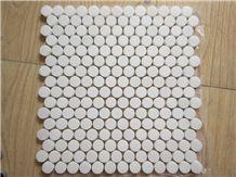 Polished Honed Tumbled Grey Gold Black White Penny Round Marble Mosaic