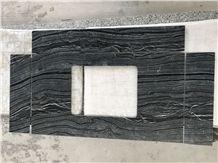 Ancient Wood Grain Vein Marble Black Dark River Bathroom Vanity Tops
