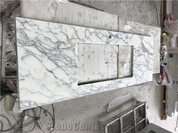 Arabescato Italian Carrara Marble Big Flower Bathroom Vanity Tops