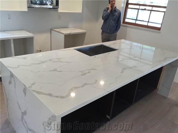 Biaco Calacatta White Quartz Grey Kitchen Countertops