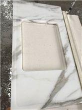 Polished Statuario Venato White Snowflake Marble Kitchen Countertops