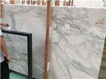 Snowflake Fine Lines Snow White Marble Bianco Calacatta Slabs Tiles