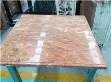 Tea Rose Orange Peel Red Marble Tabletops,Table Sets