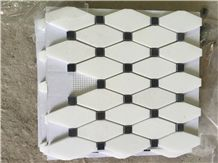 Thasoss White Nero Black Marquin Marble Mosaics Interior Decoration