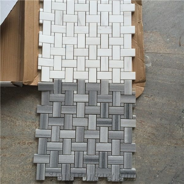 Wooden Marble Mosaics Tiles White And Grey Bathroom Floor Tiles From China Stonecontact Com