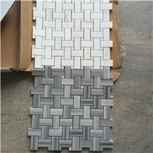 Wooden Marble Mosaics Tiles,White and Grey,Bathroom Floor Tiles
