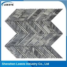 Bardiglio Marble Honed Chevron Mosaic Tiles