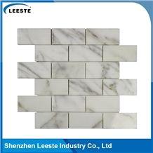 Calacatta Gold Italian Marble Polished Brick Design Mosaic Tiles