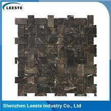 Chinese Dark Emperador Polished Basketweave Marble Mosaic Tiles