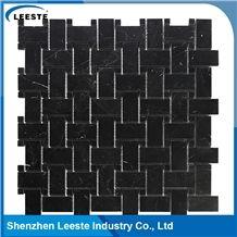 Polished Arabesque Basketweave Black Marble Mosiac Backsplash Tile