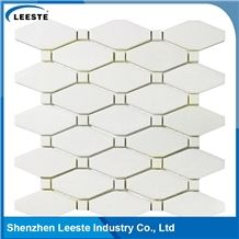 Pure Natural White Polished Long Octagon Thassos Marble Mosaic Tile