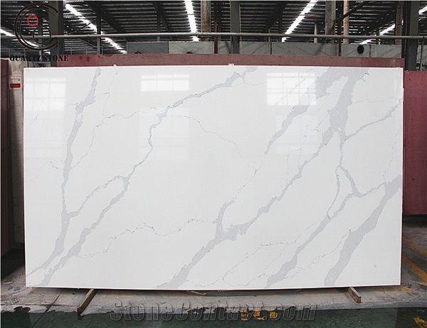 Hot Sale Chinese White Calacatta Marble Looks Quartz Stone