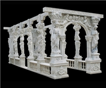 White Marble Gazebo Handcarved Stone
