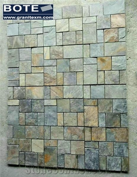 China Multicolor Slate Tile Mosaic Pattern Wall Tiles