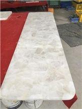 Backlit White Crystal Quartz Semiprecious Gemstone Bartop