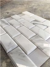 Bevelled Edge Beige Marble Mosaic, Joint Bevelled Mosaic