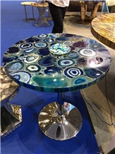 Blue Agate Luxury Table Top Coffee Bar Table Tops Design Top