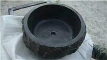 China Blue Limestone Sink Bathroom Basin Round Stone Wash Basin