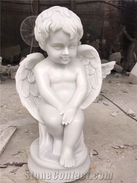Cute Small Angel Sculpture Pure White Marble Children Statues From