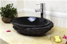 White and Black Marble Vessel Bathroom Sink