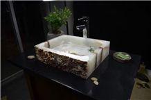 White Marble Square Vanity Basin Sinks Bath-Design