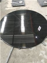 Black Granite Polished Round Tabletops Restaurant Dining Desk Bullnosed