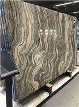 Dark Cloud Grey White Wave Marble Slabs Interior Cladding