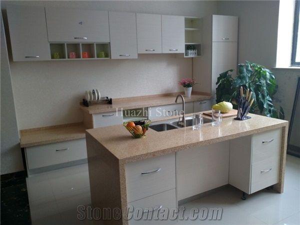 Beige Quartz Countertop Kitchendeskislandbar Tops Countertops