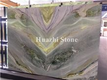 Green Bookmatch Marble Slabs Polish Green Stone Wall Tiles