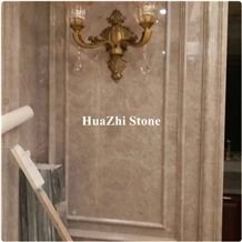 Unique Glossy Light Beige Marble Wall Moldings with Pacific Gray Warm Wave