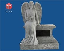 China Gray Granite 2 Niche Sitting Angel Sculpture Statue Columbarium