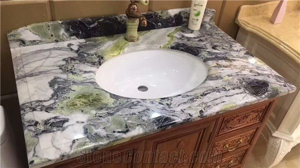 Ice White Beauty Marble For Vanity Top Custom Made