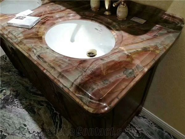 Venice Red Marble For Vanity Top Custom Made