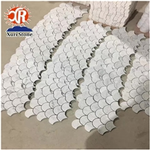 Latest Design Fan Shape Mosaic Solid White Kitchen Carrara Tiles