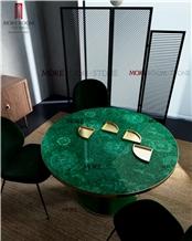 Moreroom Stone Custom Semi Precious Stone Malachite Green Table Top