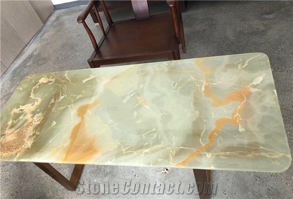 Beige Jade Office Desk Top Green Onyx Worktop Furniture