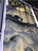 Mountain and River Landscape Painting Onyx Slab Wall Decor