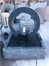 Dark Grey Granite Stone Garden Fountain