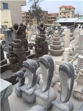 Outdoor Granite Dolphin Water Fountain for Sale
