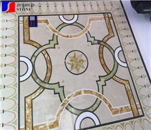 China Multicolor Marble Water Jet Medallion,Square Flooring Medallions