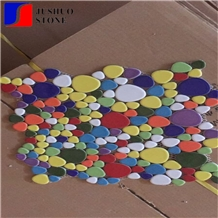 Irregular Mosaic Ceramic Tile Texture Finishing Multicolor Porcelain